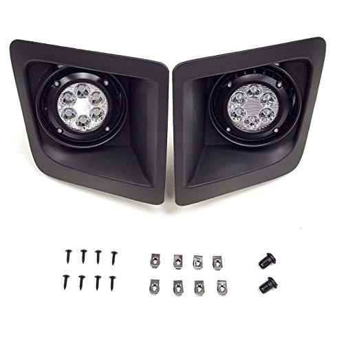 LEDIN For 2014-2015 GMC Sierra with Built-in LED Front Bumper Clear Fog Driving Lights Bezel Pair ()