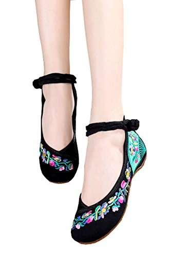 AvaCostume Women's Embroidery Fan Pattern Casual Mary Jane Shoes, Black 38 by AvaCostume