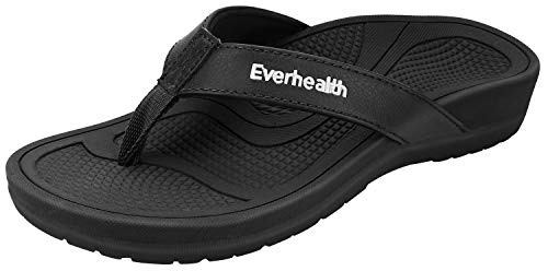 Everhealth Orthotic Sandals Stylish Thong Flip Flops Women Ultra Comfort Slippers with Arch Support for Plantar Fasciitis, Flat Feet & Heel Spur - 40 EU/ 9 US Black (Best Shoes For Heel Spur Pain)