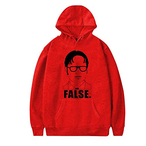 Creative Mens Pocket Hoodies,Funny D-Wight Face Schrute Farms Casual Printed Plush Sweater M Red ()