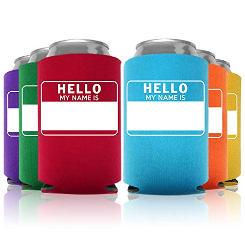 Hello My Name Is Can Coolers Party Favor, Multi Colored, 12 -