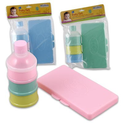 2pc Baby Set Plastic Wipe Case + Powder Holder (Blue)