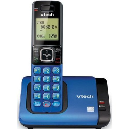 (VTech CS6419-15 DECT 6.0 Cordless Phone with Caller ID, Expandable up to 5 Handsets, Wall-Mountable, Blue)