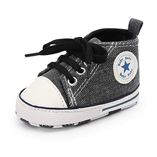 Newborn Shoe Sizes - Baby Boys Girls Canvas Shoes Basic Sneakers Lace Up Infant Newborn First Walker Prewalker Shoes(0-18 Months) (6-12 Months Infant, A-Black 1)