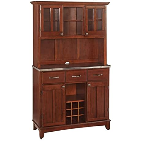 Medium Cherry Server With Stainless Steel Top And Two Door Hutch Large