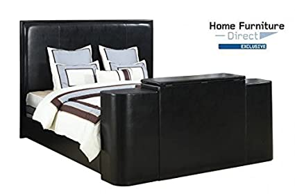 Amazon Com Miles Black Cal King Bed With Tv Lift Kitchen Dining