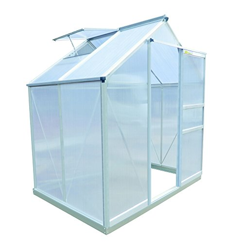 Palm Springs 6ft x 4ft Aluminum Walk in Greenhouse with polycarbonate panels