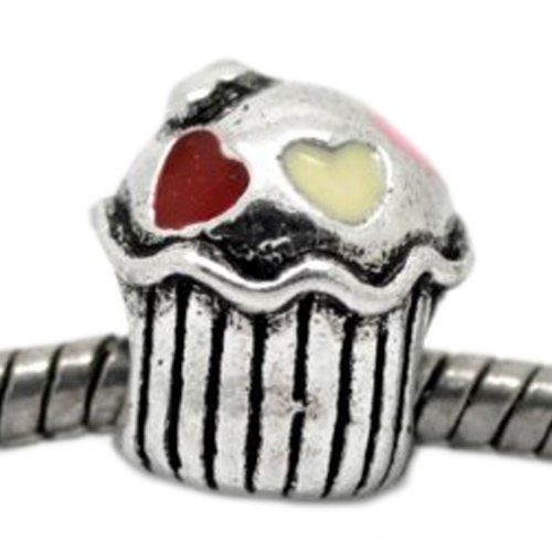 SEXY SPARKLES Cupcake with Heart Charm Spacer Beads for Snake Chain Charm Bracelet