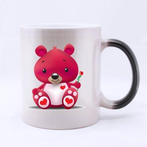 Cute Cartoon Pink Bear Home/Office Mug 11 Ounces Heat Sensitive Color Changing Mug - Great Gift Idea