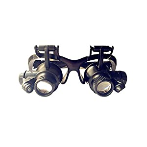 Head Wearing Magnifying Lens,Double Eye Watch Repair Magnifier Loupe Jeweler Magnifying Glasses Tool Set With LED Light 10X 15X 20X 25X