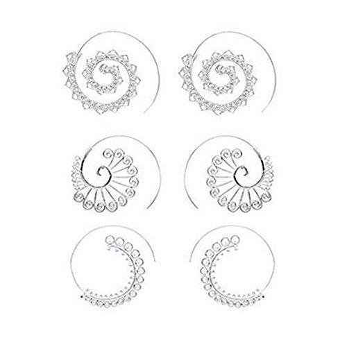 Spiral Hoop Earrings Set Vintage Tribal Swirl Earrings For Women 3 Pairs/Set (Silver Spiral Earrings)