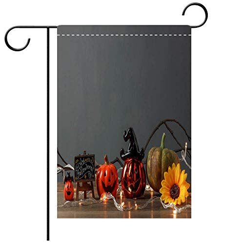 Artistically Designed Yard Flags, Double Sided Accessory of Happy Halloween Festival conceptEssential decorations on the modern brown wooden home office Best for Party Yard and Home Outdoor Decor