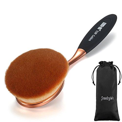 JewelryWe New Oval Makeup Brush Cosmetic Foundation Cream Powder Blush Makeup Tool (Black Silver)