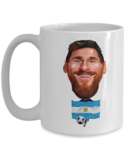 Messi Coffee Cup - Argentina Soccer Star Caricature Mug with Argentinian Flag - Best Ever Gifts for Mom Dad Fans from You