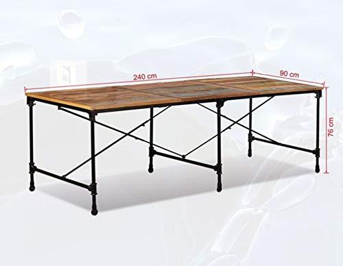 Zerone- trämatbord, massivt trä återvunnet matbord med hjul för hem köksmöbler 94 x 35,4 x 29,9 tum
