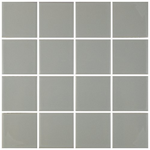"5 Square Feet 3x3 Tile for Wall Spa Swimming Pool Shower Kitchen Countertop Bathroom Sink Backsplash - 5 SF 3"" x 3"" Porcelain Tile (Gray)"