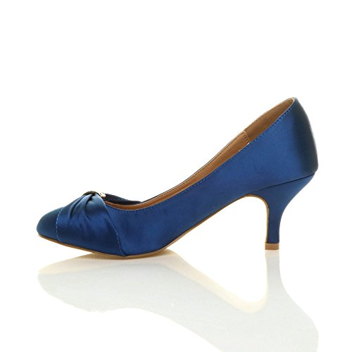 de Satin Navy mujer vestir Zapatos para Ajvani fxqT84