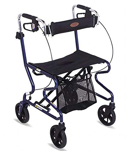 SHGK 2 in 1 Rollator and Transit Chair Lightweight Aluminium Frame - Height Adjustable rollators Walker with seat and Carry Bag (2 In 1 Rollator And Transit Chair)