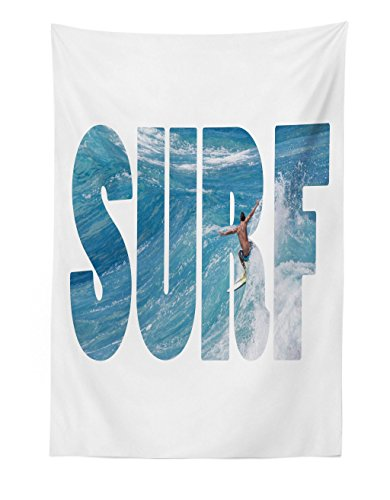 Lunarable Surf Tapestry, Surfer Riding Giant Majestic Ocean Wave in Hawaii Adrenalin Epic Athlete Sea Pacific, Fabric Wall Hanging Decor for Bedroom Living Room Dorm, 30 W X 45 L inches, Blue White