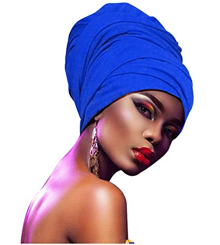 L'VOW Women' Soft Stretch Headband Long Head Wrap Scarf Turban Tie (Royal Blue)