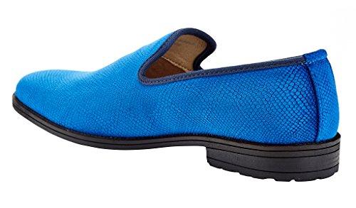 Franco Vanucci Heren Loafer Fluwelen Slip-on Smoking Pantoffels Geborduurde Nachtclubjurk Schoen Blauw-10