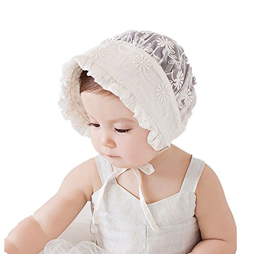 Royal Lace Flower Baby Girls Toddlers Eyelet Lace Breathable Cotton Bonnet Sun Hat (06)