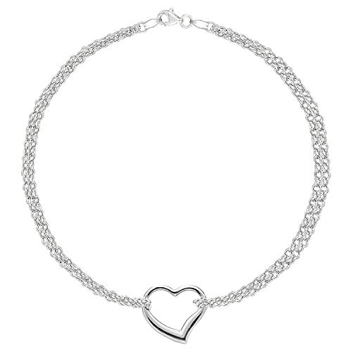 14K White Gold Double Strand With Heart Anklet, 10