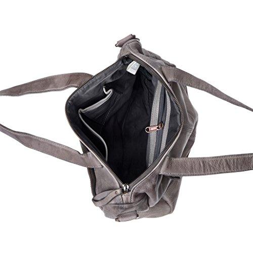 Borsa donna in pelle lavata a tracolla con borchie e manici DUDU Gray Stone