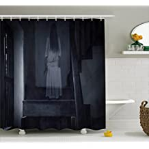 Ambesonne Halloween Shower Curtain by, Horror Scenery Ghost Girl Figure on Stairway Holding Axe Murder Violent Nightmare, Fabric Bathroom Decor Set with Hooks, 70 Inches, Grey White