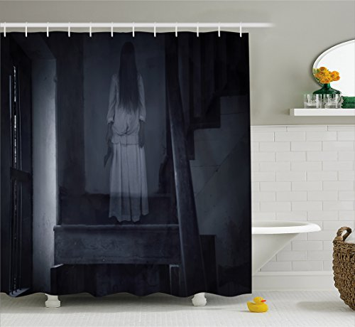 Halloween Shower Curtain by Ambesonne, Horror Scenery Ghost Girl Figure on Stairway Holding Axe Murder Violent Nightmare, Fabric Bathroom Decor Set with Hooks, 70 Inches, Grey White