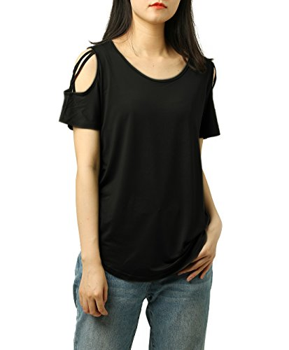 PAAZA Womens Criss Cross Casual Loose Cold Shoulder Tops and Blouses Basic T Shirts