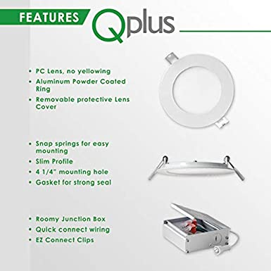 750 lm 5000K Day Light, 1 Pack ETL 10W Damp Location Dimmable IC Rated Energy Star Ultra Thin Canless Downlight Kit with Junction Box QPLUS 4 Inch LED Recessed Lighting =75W