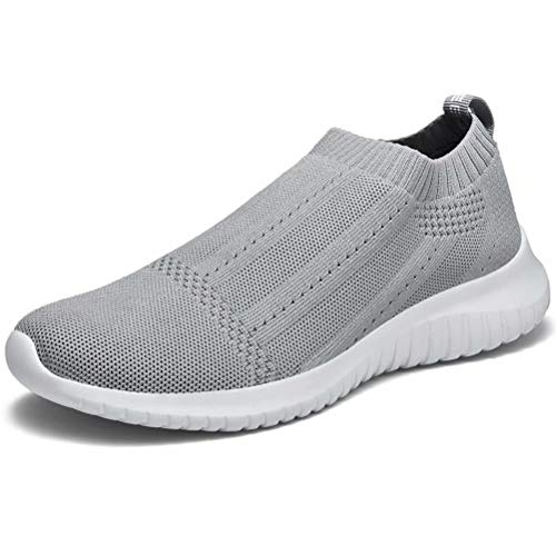 LANCROP Women's Casual Tennis Shoes - Comfortable Knit Gym Walking Slip On Sneakers 8.5 M US, Label 39 Grey