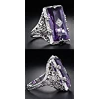 Aisamaisara Purple Amethyst Zircon 925 Silver Ring Women Wedding Engagement Jewelry Sz 6-10 (8)
