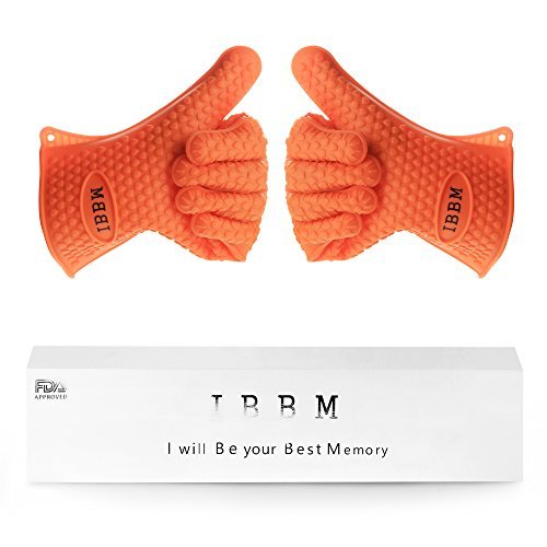 Silicone Cooking Gloves - Non-Slip Potholders for Kitchen Cooking & Baking - Oven Mitt for Grilling & BBQ - Heat Resistant Safe Handling of Pots and Pans - 2pc - Orange - Gator Grip Insulated Handle