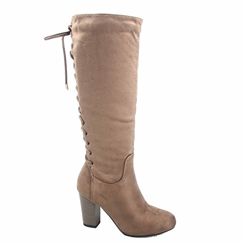 - Top Moda Sophie-30 Women's Back Lace Up Chunky Heel Zipper Mid-Calf Boots Shoes (6.5, Taupe)