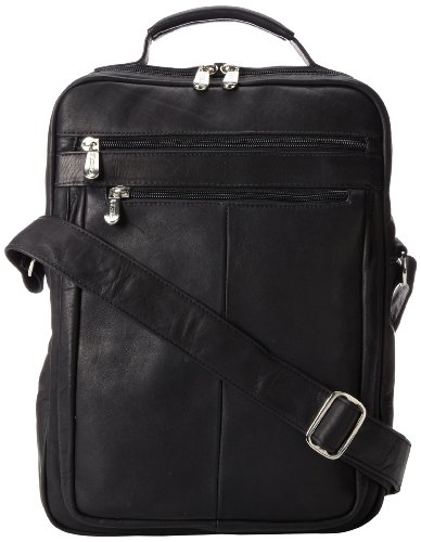 Piel Leather Laptop Shoulder Bag, Black, One Size ()