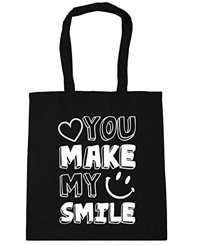 HippoWarehouse YOU MAKE mi sonrisa Tote Compras Bolsa de playa 42 cm x38 cm, 10 litros negro