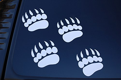 Black Bear Paw Prints - (X4) Black Bear Paw Prints Sticker Vinyl Decals CHOOSE COLOR & SIZE!! Hunting Car Window Wall Decor Grizzly Archery (V188) (5