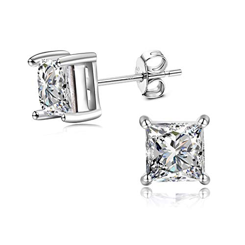 Hypoallergenic Sterling Silver Earrings Studs for Mens Women, Boys Fashion Princess Cut 6MM Square Studs Earrings with Swarovski Crystal