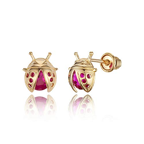 14k Yellow Gold Lady Bug Cubic Zirconia Children Screwback Baby Girls Stud Earrings ()