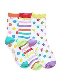 Set of 3 White Zany Ankle Socks, size 10-110