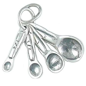 Movable Kitchen Measuring Spoons 925 Sterling Silver Traditional Charm