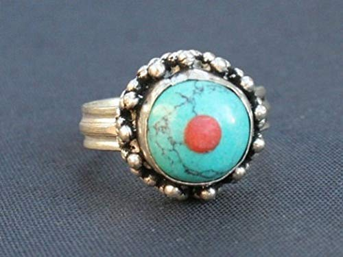 - Delicate Tibetan Thick Plate Coral Big Turquoise Inlay Ring -US Size 8.5 to 10.5#ID-859