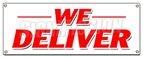 WE Deliver Banner Sign Pizza Chinese Sandwiches hoagie Hero Food Free