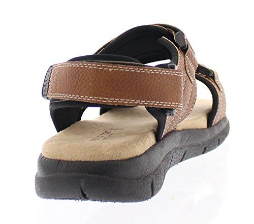 Gold Toe Mens Steve Casual Outdoor Adjustable Fisherman Open Toe Flat Sandal Memory Foam Comfort Shoes Tan 4Ds70rBHSN