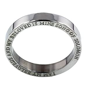 RSPU5 Forgiven Jewelry-II am my beloved's Purity Band Stainless Steel Ring size 6-Christian Jewelry