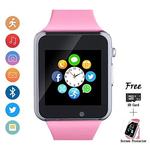 Smartwatch, Smart Watch with SIM Card Slot Text Call Reminder Camera Music Player Pedometer Compatible with Android Samsung and iPhone(Partial Functions) for Men Women - Ladies Player Watch Pink
