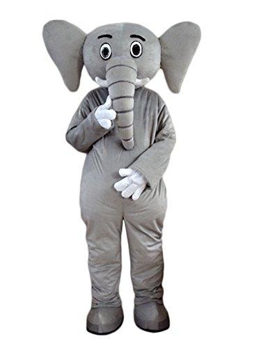 Grey Elephant Mascot Costume Adult Size Cartoon Halloween Fancy Dress Suit