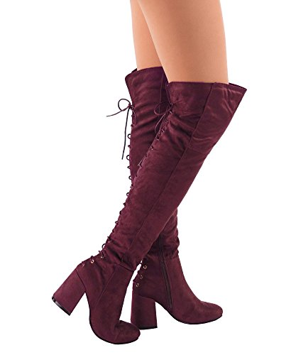 RF ROOM OF FASHION Flores-22 Vegan Suede Almond Toe Corset Lace up Side Zipper Chunky Heel Over The Knee Boots Burgundy (8) by RF ROOM OF FASHION
